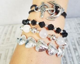 Faux leather anchor bracelet, black faux leather anchor bracelet, leather bracelet, nautical bracelet, beach bracelet