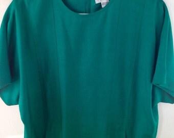 Unique emerald silk tunic dress