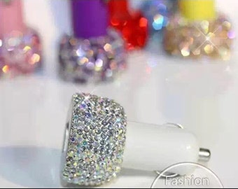 Bling Bling Rhinestone Crystal Sparkle Dual USB Car charger Designed for Apple and Android Devices