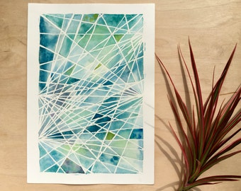 Original Watercolour Painting - Strings No. 7 - geometric art - ocean blues - desk art - A5