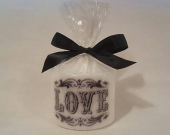 Hand printed love pillar candle