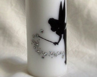 Hand printed tinker bell candle with rhinestones