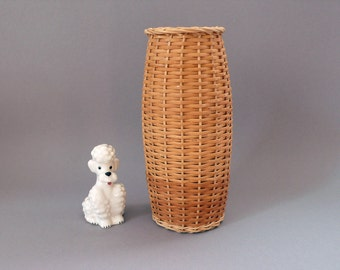 60s Vintage Wicker Rattan Flower Vase Woven Basket Mid Century Covered Glass