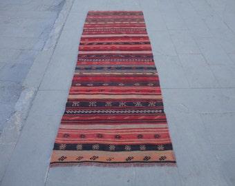 Vintage hallway runner rug,Turkish kitchen rug,stairway rug,101 x 35 inches