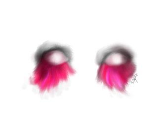 Pink feather eyelashes Digital drawing