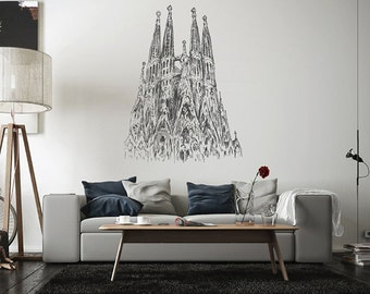 kik2522 Wall Decal Sticker Spain Gothic cathedral living room bedroom