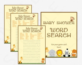 Safari Baby Shower Games, Word Search Game, Jungle Baby Shower Game, Safari Printables, Baby Shower Word Search, Baby Shower Game, Bs0001-N