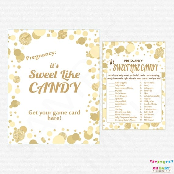 Sweet Sweet Baby Baby Shower Game: How Sweet It Is Baby Shower Game It's Sweet Like Candy