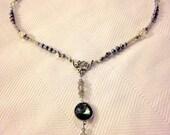Peacock Freshwater Pearl, Swarovski Crystal & Labradorite Y Necklace