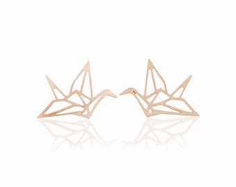 Studs origami crane 18 k rose gold plated