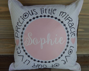 Pillow Cover for Baby Girl 12 x 12 Baby Gift Personalized New Baby Nursery Pillow Decorative Pillow Throw Pillow