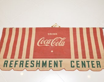 Coca-Cola 1940 Canvas Store Display Awning