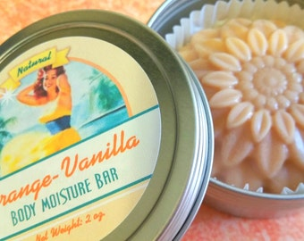 Orange Vanilla Organic Solid Lotion Bar / Natural Lotion Bar / Shea Butter / Beeswax / - 1 bar w/Tin