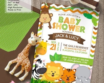 Safari Baby Shower invitations Jungle animals DIY printable Cute Safari co-ed couples shower invitations