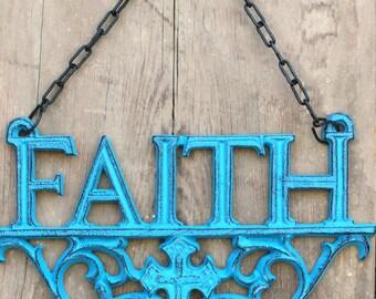 FAITH Wall Hanging, Metal Decor, Christian Symbal, Faith-Hope-Love