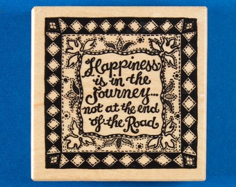 """Rubber Stamp by PSX with """"Happiness Is in the Journey"""" Saying on a Quilt - Personal Stamp Exchange G-1328"""