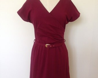 Jersey viscose dress with wrap bodice and belted waist