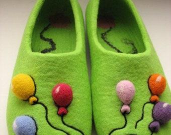 "Felted Wool Slippers ""Balluns"" Mans Womens Slippers Handmade"