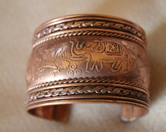 Copper Wide Elephant Cuff Bracelet