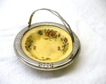 Vintage Porcelain/Metal Basket,Golden Marie, made by Farberware, Sebring Pottery co., Sebring Ohio