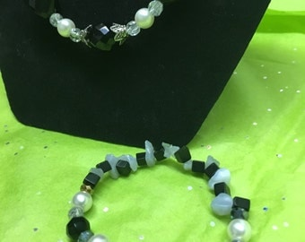 Black, White and Clear Beaded Jewelry Set