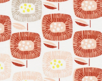 Cloud9 Block Blooms Red Around the Block by Skinny LaMinx  Organic Quilting Cotton
