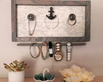 Bracelet Holder with Map & Anchor