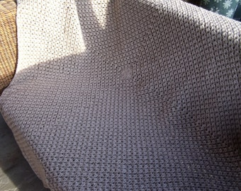 Oatmeal British Tweed & Merino Wool Hand Crochet Wool Blanket / Throw