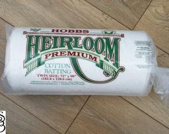 "Hobbs Heirloom Premium Cotton Batting Twin Size (72"" x 90"" / 182.8cm x 228.6cm) FREE SHIPPING"