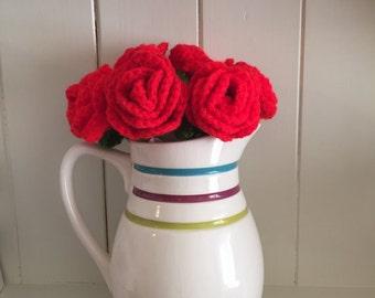 INSTANT DOWNLOAD crochet pattern only - crochet your own rose bouquet. crochet of beginners