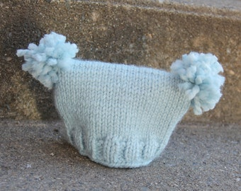 Sweet Newborn Hat With Pom Poms * Boy or Girl * Great Photography Prop!