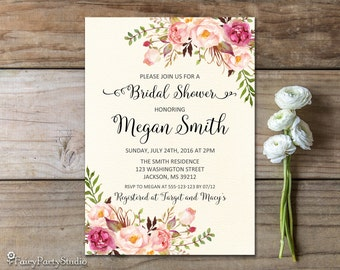 Ivory Bridal Shower Invitation, Floral Bridal Shower Invitation, PERSONALIZED, Digital File