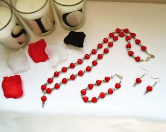 Red love heart long necklace set