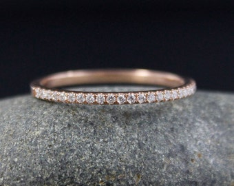 Micro Pave Diamond Wedding Band – 14kt Rose Gold - Half Eternity Band