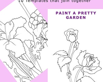 Templates for Painting Flowers - 10 Fine Line Coloring or Painting Templates to Join Together