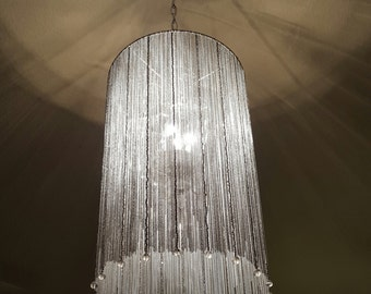 Chain, crystal, and bead chandelier