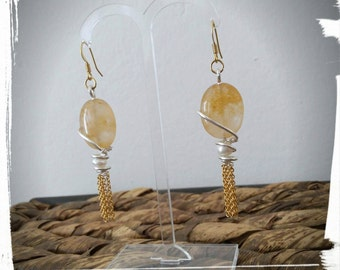 Gold and silver plated copper earrings with crystals and freshwater pearls