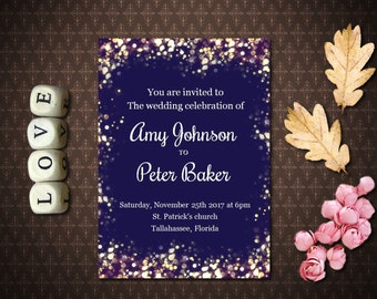 Navy and Gold  Glitter Wedding Invitation, Printable Wedding Invitation, Digital Invitation, code-023