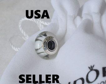 Authentic Pandora White Looking Glass Bead Charm