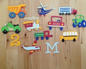 Cars Trucks Trains and Planes Cupcake Toppers - First Birthday - Boy Birthday - Transportation - Automobile Birthday - Cupcake Toppers
