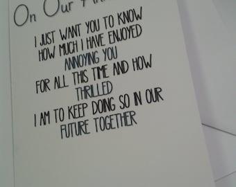 Humour wedding anniversary card