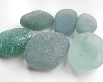 Half a Dozen Chunks of Silver Blue Sea Glass