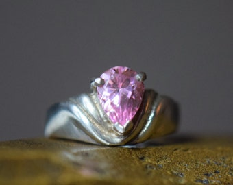 Bright Pink Gemstone Vintage Silver 925 Solitaire Band, US Size 6.0, Used