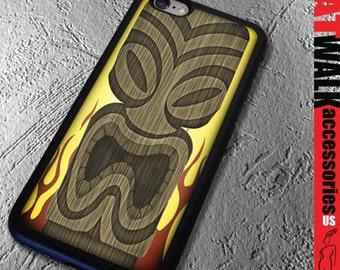 Tiki Apple iPhone 6/6S Rubber Case. Tiki Lounge iPhone 5S Case. Tiki Mask Phone case. Flame Phone Cover. Phone Accessory. Tiki Fashion.