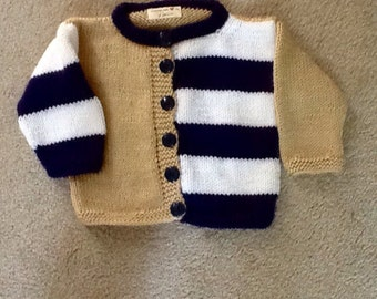 Custom made child's striped sweater suitable for a girl or boy size 12 months