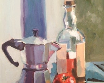 Still Life Original Oil Painting on canvas, kitchen art, wall decor, home art, Gift for Mothers, wedding gift, allaprima still life painting