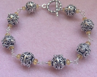 Bali Silver and Citrine Wire Wrapped Bracelet