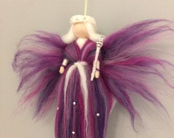 Beautiful Decorative Handmade Needlefelt Fairy Embellished With Swarovski Crystals
