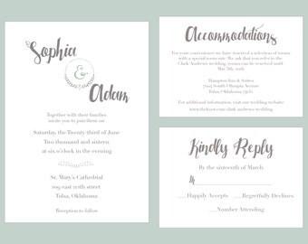 Wedding Invitation Printable, Spring, Shabby Chic