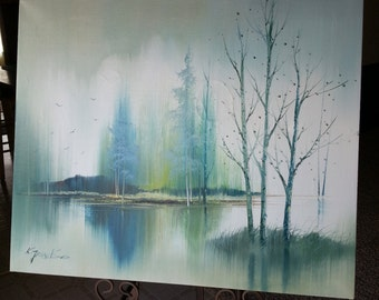 Oil Paintings - original signed - Lakeside Landscape with Trees